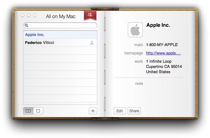 Адресная книга Mac OS Lion