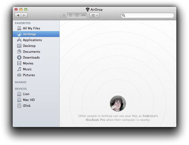 AirDrop Mac OS X Lion