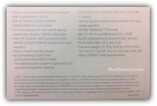 "Macbook Pro 13"" 2011 - спецификации"