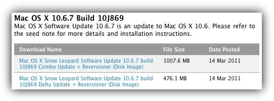 Mac OS X 10.6.7 Build 10J869