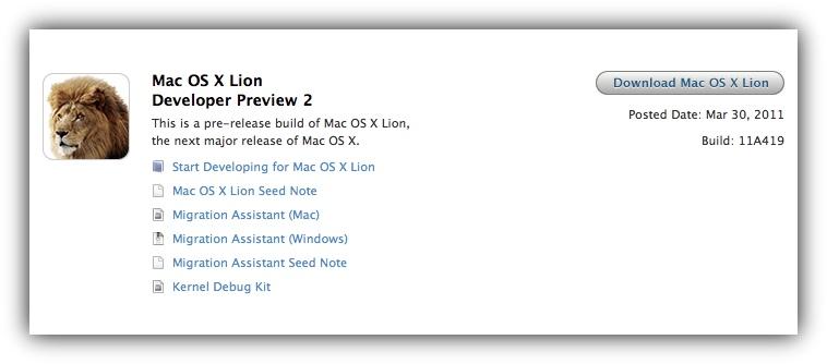 Mac OS X Lion 11A419