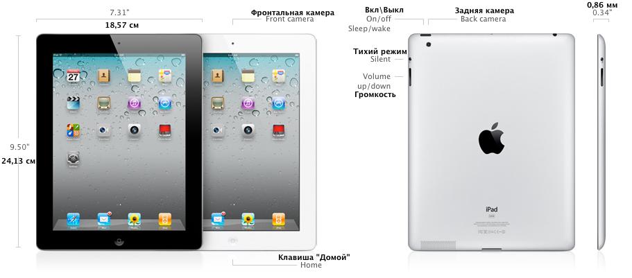 iPad 2 - размеры и кнопки