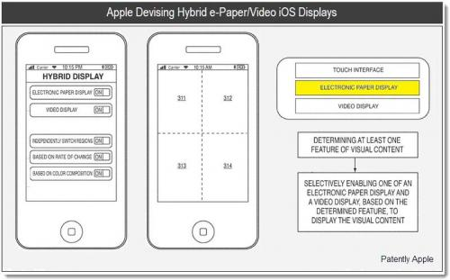 Патент гибридного дисплея E-ink\video