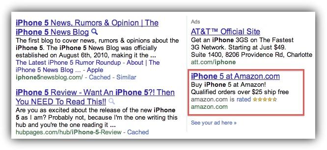 iPhone 5 - Реклама в Google от Amazon