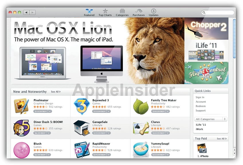 Mac OS X Lion в Mac App Store