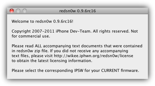RedSn0w 0.9.6RC16