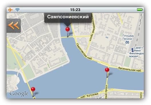 spb.briges - Местоположение мостов на карте