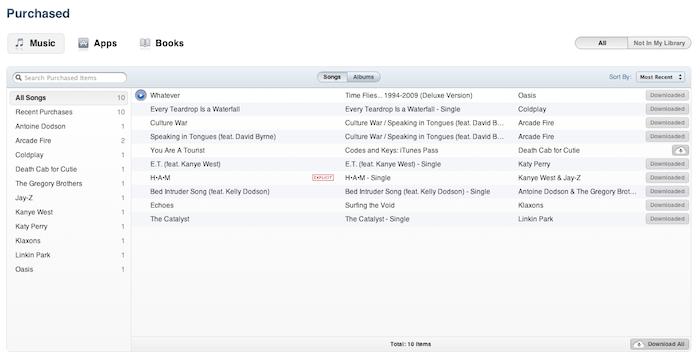 iTunes 10.3 - Приобретенная музыка