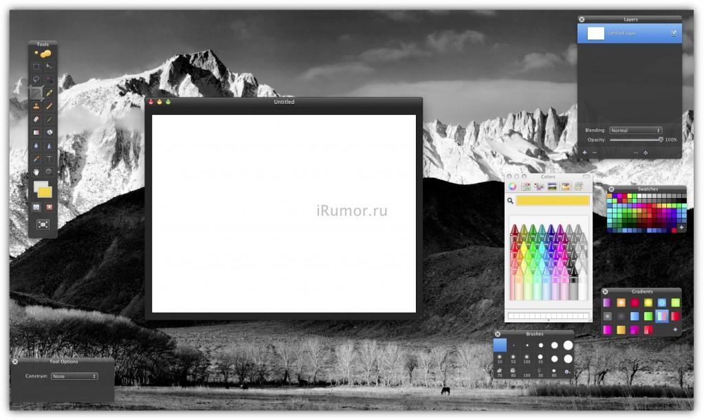 Pixelmator - рабочее окно с инструментами