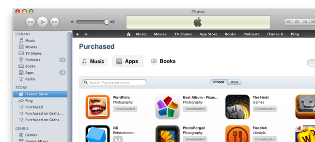 Покупки в iTunes 10.3