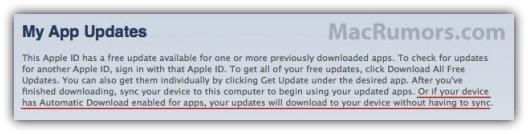 Уведомление iTunes о автообновлении приложений