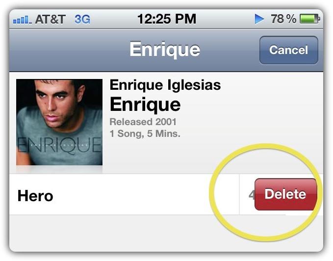 iOS 5 - удаление композиций