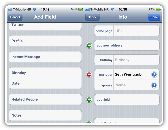 iOS 5 - Контакты