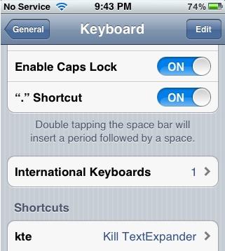 "iOS 5 - ""Shortcuts"""
