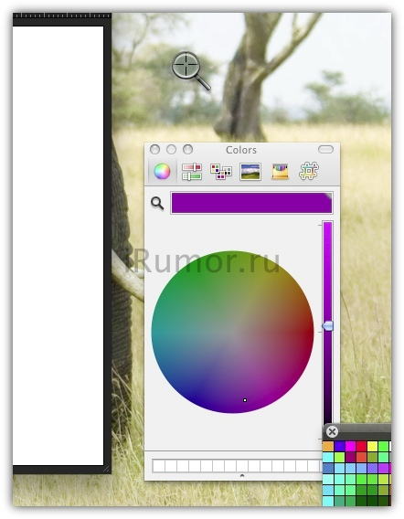 Выбор цвета с использованием цветовой панели