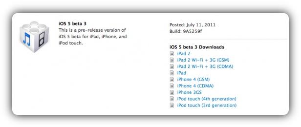 iOS 5 beta 3 9A5259f