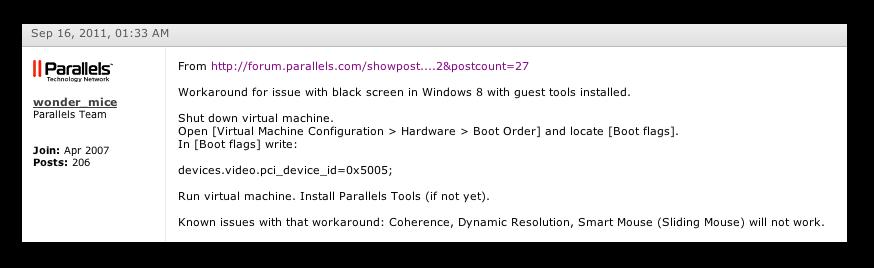 Parallels 7 and Windows 8 - Решение проблемы черного экрана